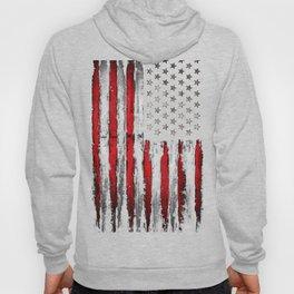 Red & white Grunge American flag Hoody