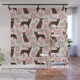 Kelpie florals dog breed cute gifts pattern dog lover pet portraits pet friendly designs Wall Mural