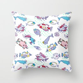 White Seamless pattern  with color fishes Throw Pillow