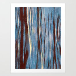 Dawn in the Winter Forest | Landscape Mood Painting Art Print