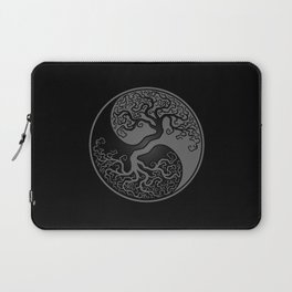 Gray and Black Tree of Life Yin Yang Laptop Sleeve