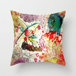 Atoms Space Vision Abstract Acrylic Painting Throw Pillow