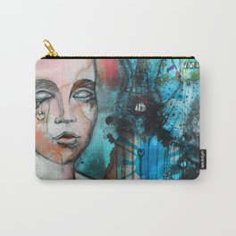 watercolor and acrylic illustrated mannequin background | hand drawn illustration  Carry-All Pouch