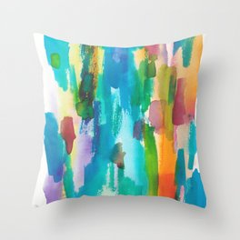 180812 Abstract Watercolour Expressionism 8| Colorful Abstract | Modern Watercolor Art Throw Pillow