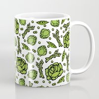 vegetables Mugs featuring Green Vegetables by Alisa Galitsyna