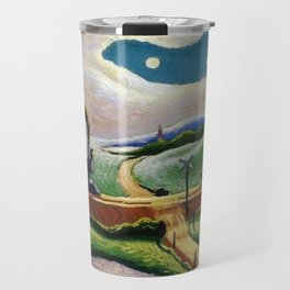 American West Classical Masterpiece 'Trains Colliding' by Thomas Hart Benton Travel Mug
