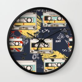 Fashion hipster pattern with cassette on shabby background Wall Clock