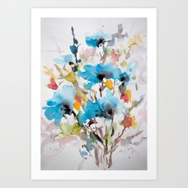 Abstract flowers in blue Art Print