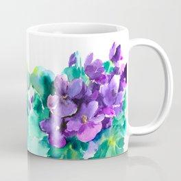 Violet Flowers  Sainpaulia African Violets violet purple yellow floral decor Coffee Mug