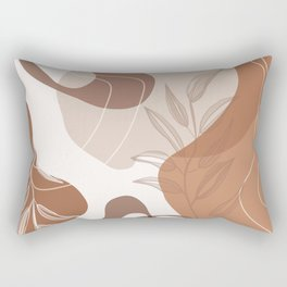Abstract - Terracotta, Tan and Beige Shapes, Lines and Leaves Rectangular Pillow