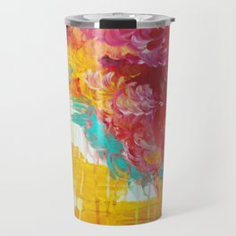 AUTUMN SKIES - Amazing Fall Colors Thunder Storm Rainy Sky Clouds Bold Colorful Abstract Painting Travel Mug