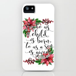 Christmas bible verse typography art Isaiah 9:6 HOLIDAZE iPhone Case