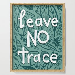 Leave No Trace Green Leafy Illustration Serving Tray