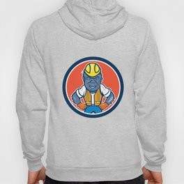 Angry Gorilla Construction Worker Circle Cartoon Hoody