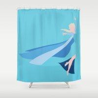 frozen elsa Shower Curtains featuring Frozen - Elsa by TracingHorses