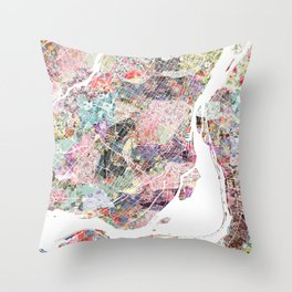 Montreal map canada Throw Pillow