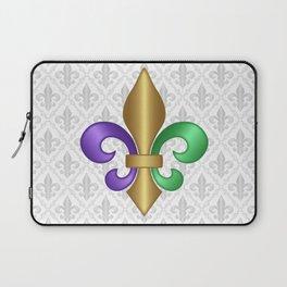 Purple Green and Gold Fleur-de-Lis on Gray Pattern Laptop Sleeve