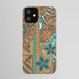 Hawaiian - Samoan - Polynesian gold and Teal Boar Tusk Print iPhone Case