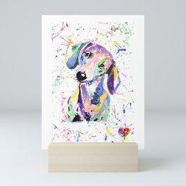 rainbow dog dachshund Mini Art Print