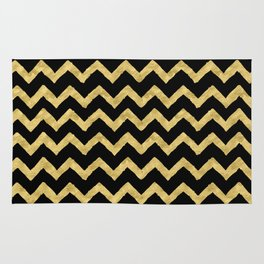 Chevron Black And Gold Rug