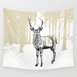 Deer illustration black and white Wall Tapestry