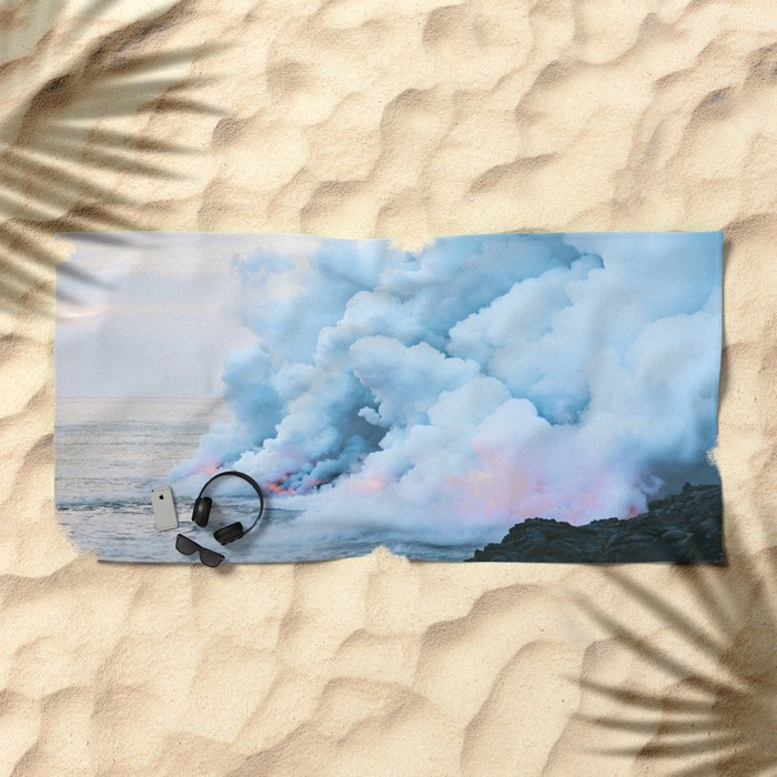 Pastel volcano smoke Beach Towel