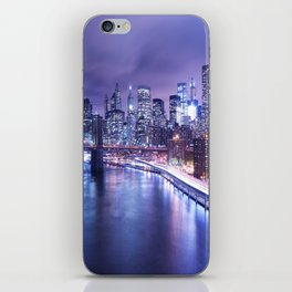 New York City Night Lights : Periwinkle Blue iPhone Skin