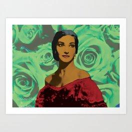 Maria Callas in Aqua Green Art Print