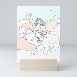 Dino-rider on the Range Mini Art Print