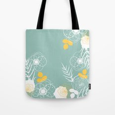 Aqua Retro Floral Tote Bag