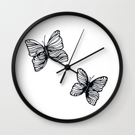 black and white butterfly drawing Wall Clock