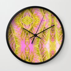 Tropical Palm pink yellow Wall Clock
