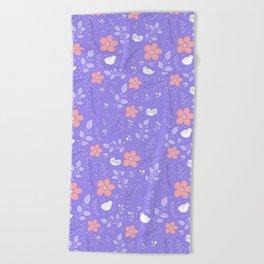 Cute bird and flower pattern Beach Towel