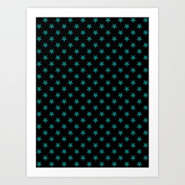 Teal Green on Black Stars Art Print