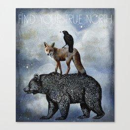 True North Bear Fox And Crow Canvas Print