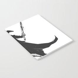 Samurai skull - japanese evil - black and white - fighter illustration - grim reaper cartoon Notebook