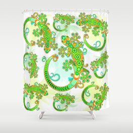 Gecko Lizard Colorful Tattoo Style Shower Curtain