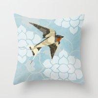 swallow Throw Pillows featuring Swallow by Lorri Leigh Art