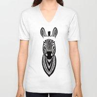 zebra V-neck T-shirts featuring Zebra by Art & Be