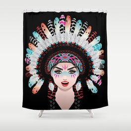 Native american woman wearing war bonnet, tribal portrait design Shower Curtain