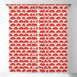 Exotic Red Chinese Dance Fans Pattern on White Blackout Curtain