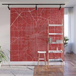 Fort Wayne Map, USA - Red Wall Mural