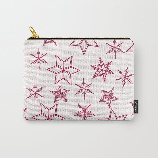 Red Snowflakes On White Background Carry-All Pouch