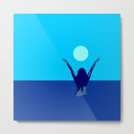 Blue sky and moon is calling me.. Metal Print