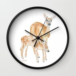 Mother and Baby Deer Watercolor Wall Clock