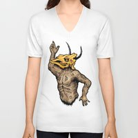 taurus V-neck T-shirts featuring Taurus by sociopteryx