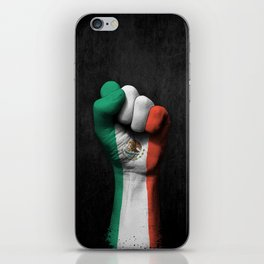 Mexican Flag on a Raised Clenched Fist iPhone Skin