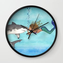 The Shark and the Mermaid Wall Clock