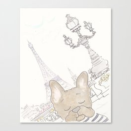 French Bulldog Photobomb in Paris with Eiffel Tower Canvas Print