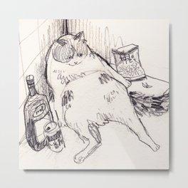 Drunk Cat Metal Print